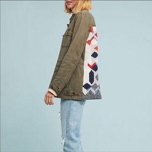 Anthropologie Army Knit Back Utility Jacket